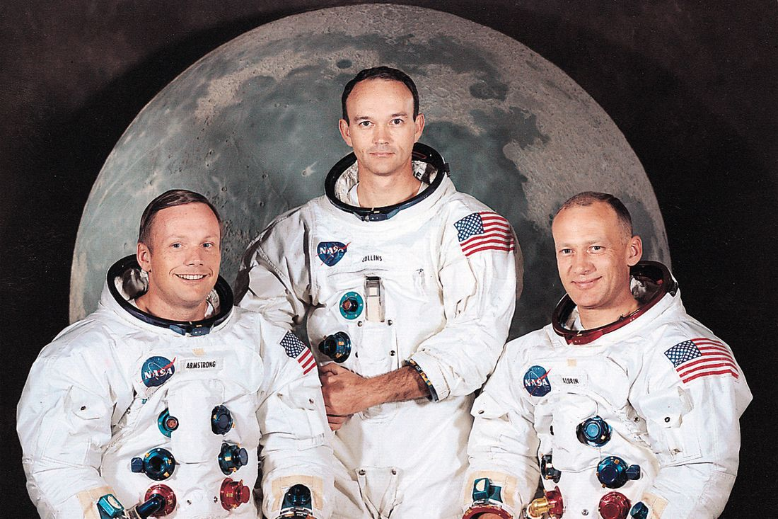 Posádka Apolla 11. Zleva: N. Armstrong, M. Collins a E. Aldrin.