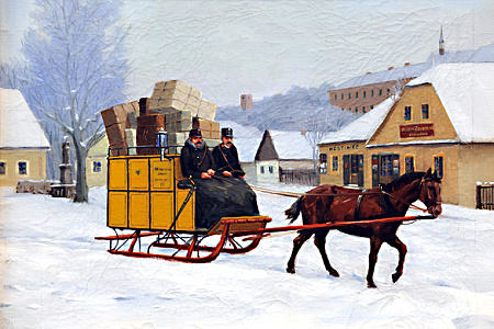 Obraz od neznámého autora zachycuje doručování pošty v podhůří Orlických hor ve druhé pol. 19. století. Obraz získalo Poštovní muzeum