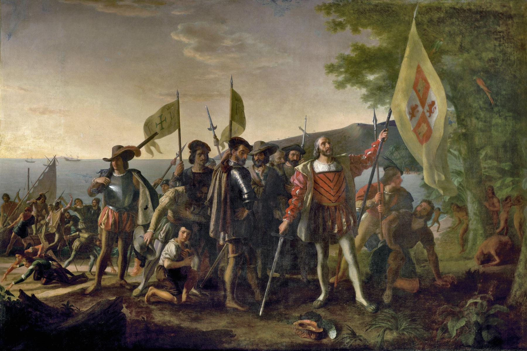 Kryštov Kolumbus v Novém světě na obrazu Johna Vanderlyna