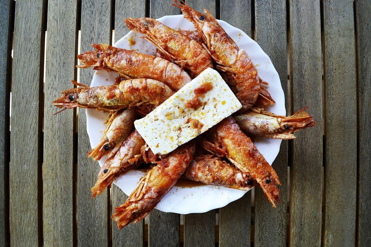 Krevety se sýrem feta