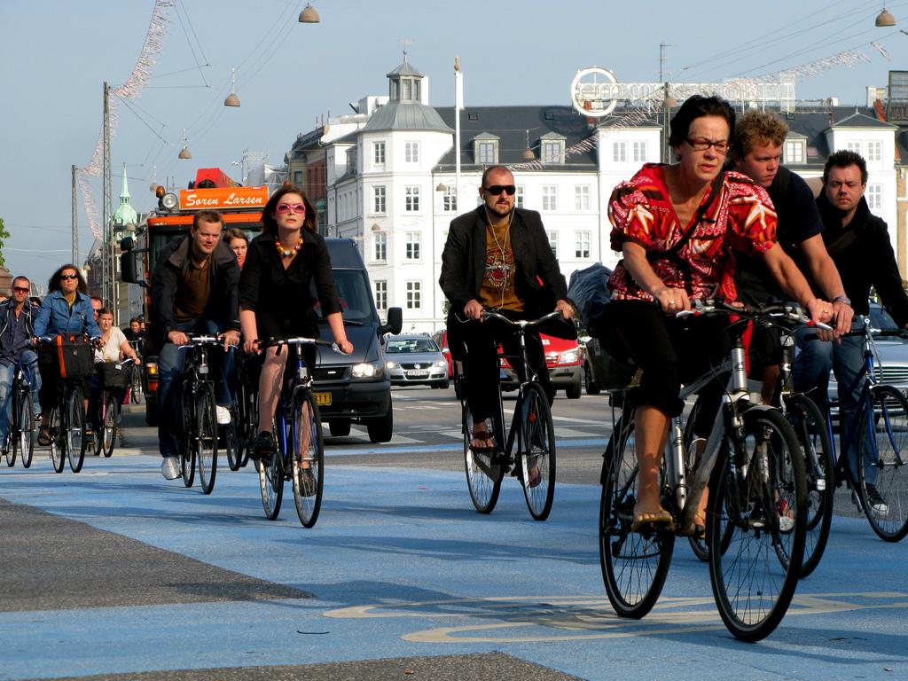 obyvatelé Kodaně jedou do práce