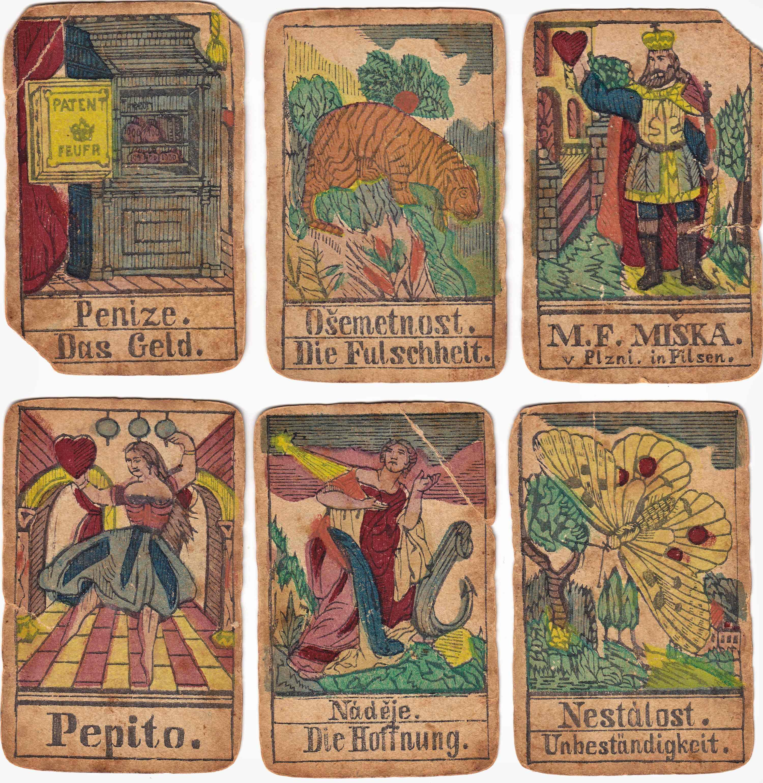 Kolorované vykládané karty z dílny M. Mischky. Kolem roku 1860