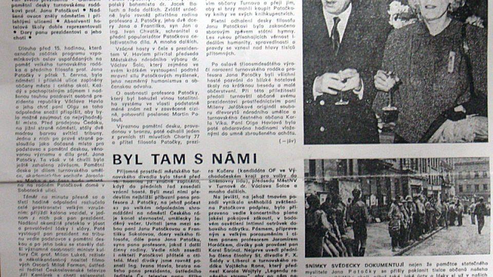 Návštěva prezidenta Václava Havla v červnu 1990 v Turnově