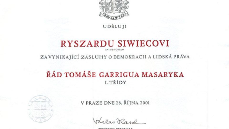 Vyznamenání Ryszardu Siwiecovi