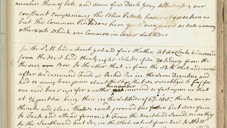 Zápis z Cookova deníku ze 17. ledna 1773, v němž popisuje první překročení jižního polárního kruhu