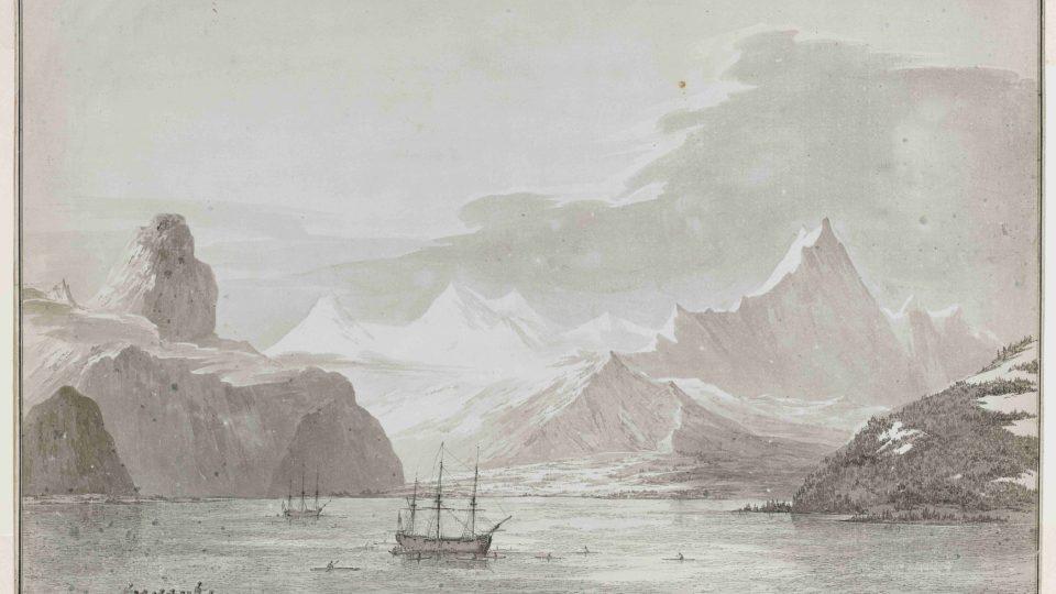 Kresba zálivu u Aljašky od Johna Webbera