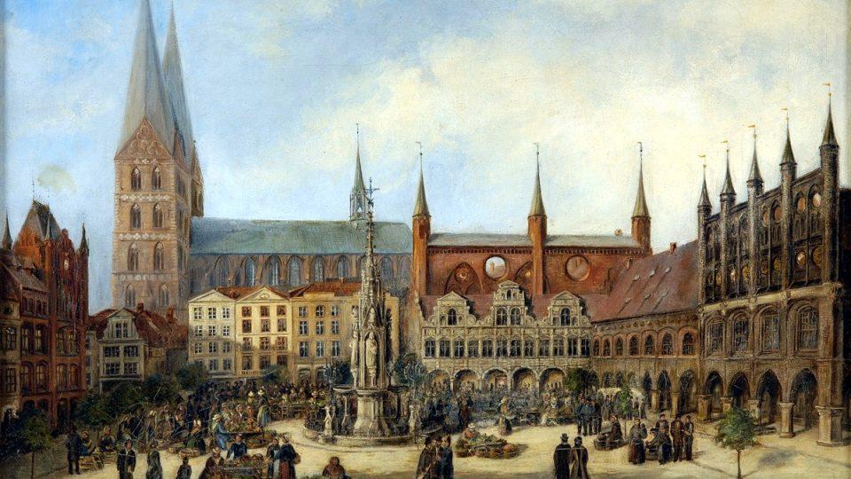 Historické centrum Lübecku s budovou radnice a kostelem Panny Marie na dobové olejomalbě