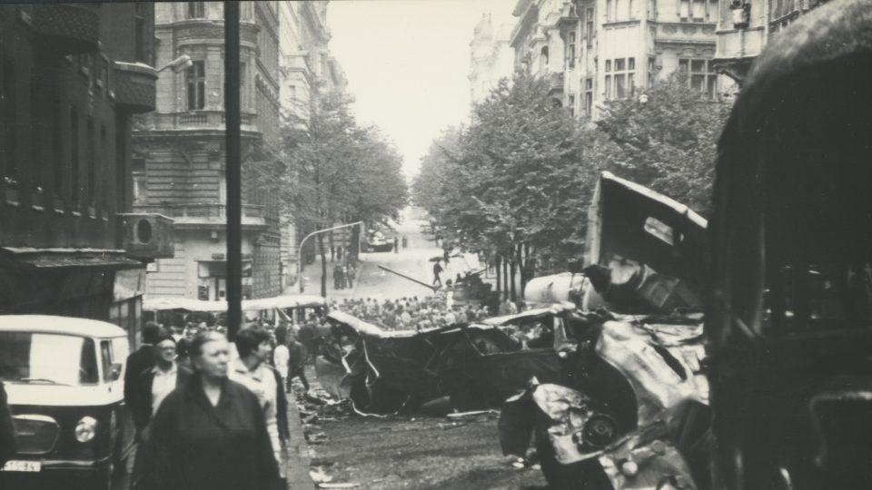 Italská ulice, pohled na Vinohradskou v roce 1968