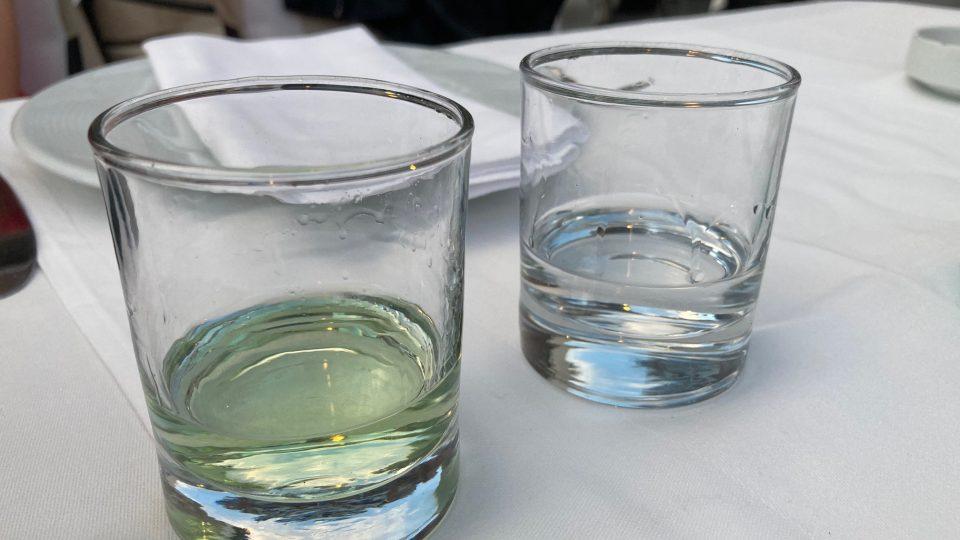 Dvě rakije jako aperitiv. Ta zelená je z moruší