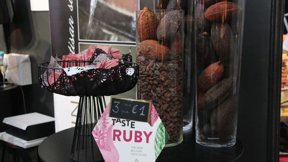 Hitem letošního veletrhu čokolády v Bruselu byla růžová čokoláda