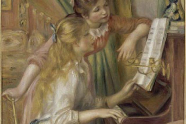 Obraz znázorňující dvě dívky u piana Renoir namaloval v době,  kdy už do Essoyes pravidelně jezdil. Vynesl mu tolik,  že si tu mohl koupit dům. | foto:  Leopold Museum