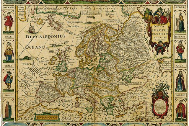 Historická mapa Evropy. Autor: N. Visscher