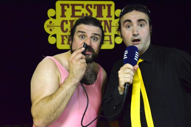 Rozhovor sám se sebou dělal klaun Pablo Cool. Nosem ho nahrával jeho asistent Dimitry   foto: David Koubek,  Český rozhlas