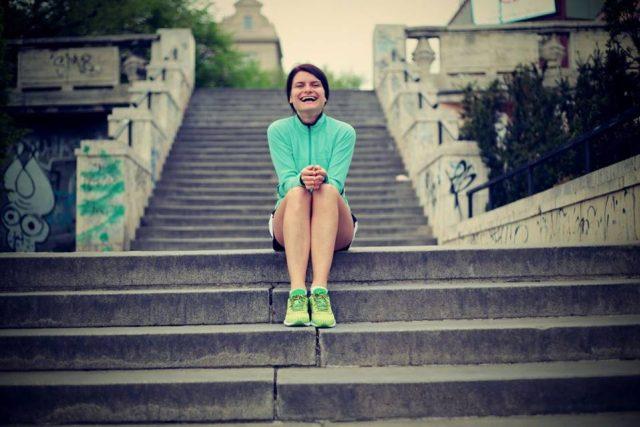 Jitka Křížová trénuje běh po schodech