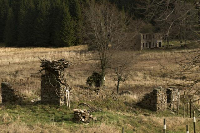 V zaniklá vesnici Königsmühle v Krušných horách se hroutí zchátralé budovy