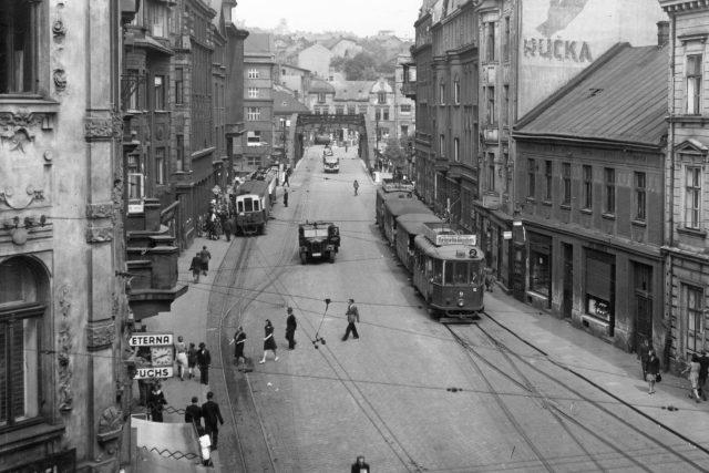 Johannyho třída, dnes ulice 28. října v centru Ostravy (40. léta 20. století)