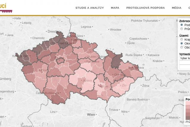 Mapa exekucí | foto:  Otevřená společnost,  o.p.s.