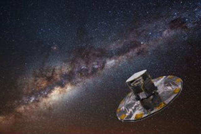 Evropská družice GAIA na pozadí Mléčné dráhy