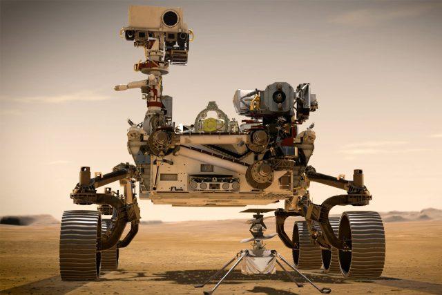 Umělecká představa roveru Perseverance a vrtulníčku Ingenuity na povrchu Marsu