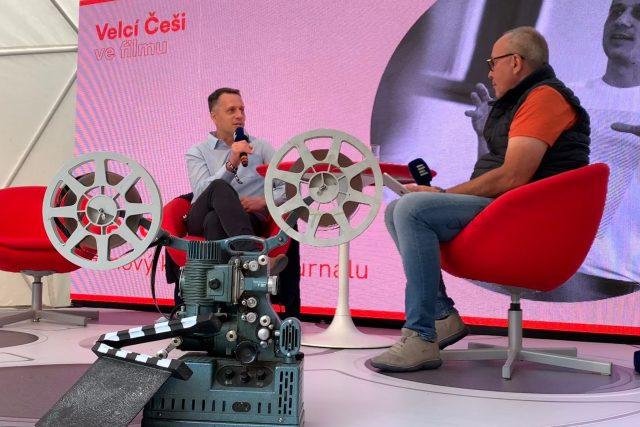 Pavel Sladký v rozhovoru s moderátorem Jane Pokorný   foto: Barbora Turazová,  Český rozhlas