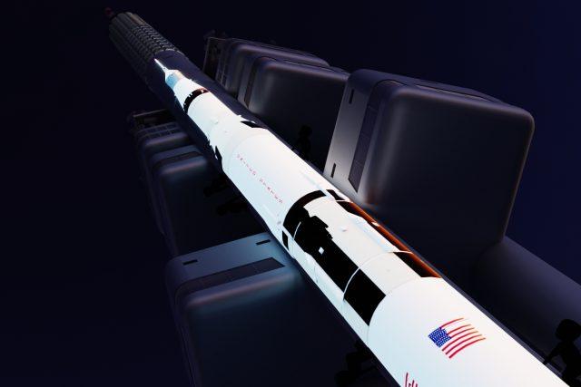 Žižkovský televizní vysílač se promění na raketu Saturn V a připomene start Apolla 11 | foto: František Pecháček,  Projekt 50 Moon: Zpátky na Měsíc