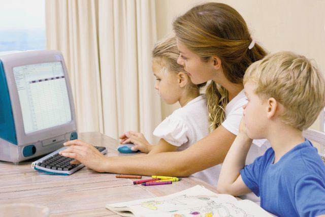 Děti, počítač, internet, rodič, matka