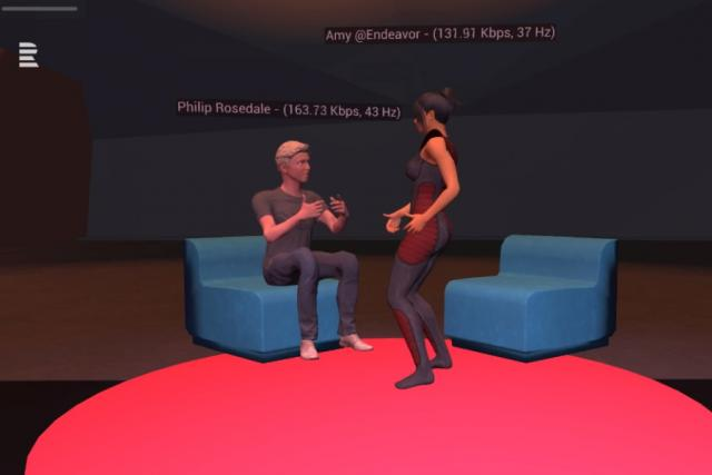 Amy Pecková se prostřednictvím virtuální reality popovídala s Philipem Rosdalem, průkopníkem VR, který se připojil ze San Francisca.