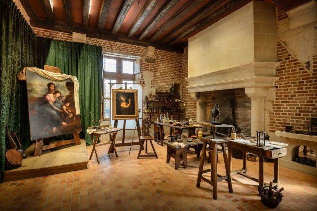 Château de Clos Lucé, ateliér Leonarda da Vinci