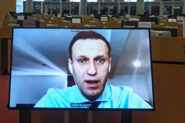 Alexej Navalnyj během online slyšení v zahraničním výboru Evropského parlamentu