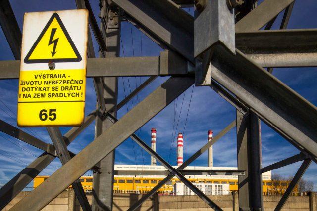 Stožár velmi vysokého napětí u elektrárny Opatovice