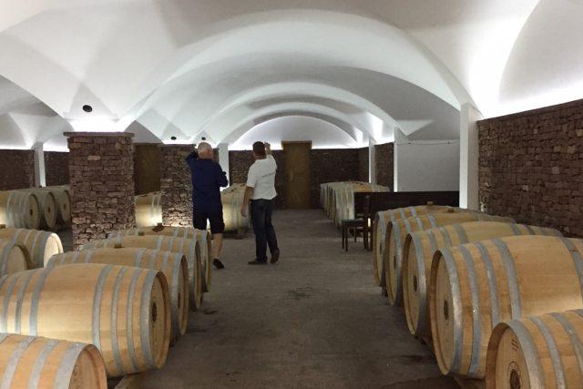 Vinařství Figula - vinný sklep s červeným vínem.