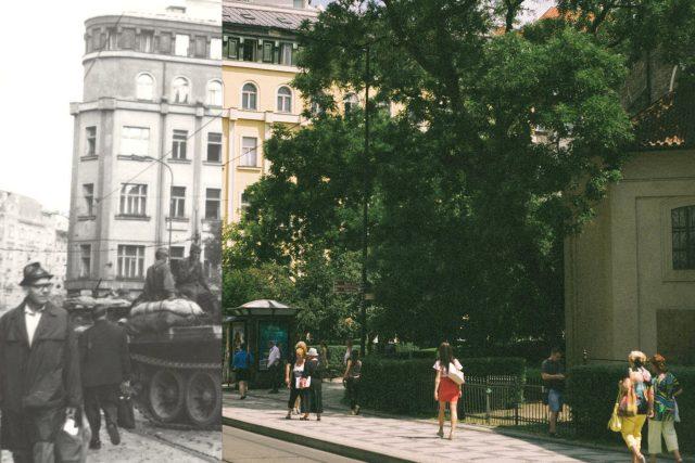 Pražská zastávka Jindřišská dnes a před 50 lety | foto: Petr Wágner,  Jan Kolář