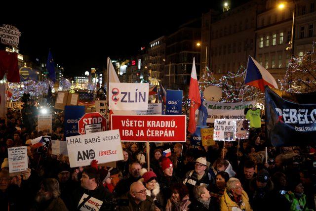 Demonstrace na Václavském náměstí.