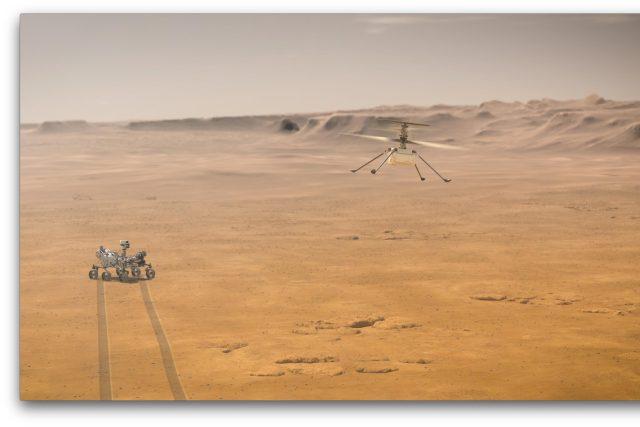 Animace toho, jak by se Ingenuity měla nad povrchem Marsu pohybovat
