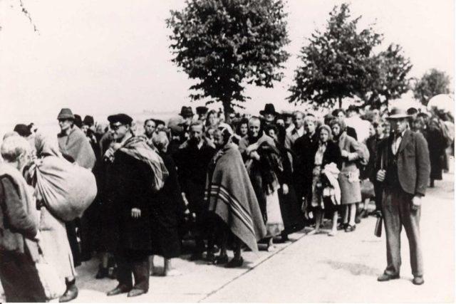Odsun Němců z Brna na historickém snímku.