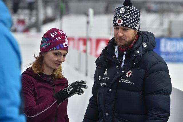 Kateřina a Matthew Emmonsovi, střelečtí poradci českého a amerického biatlonu