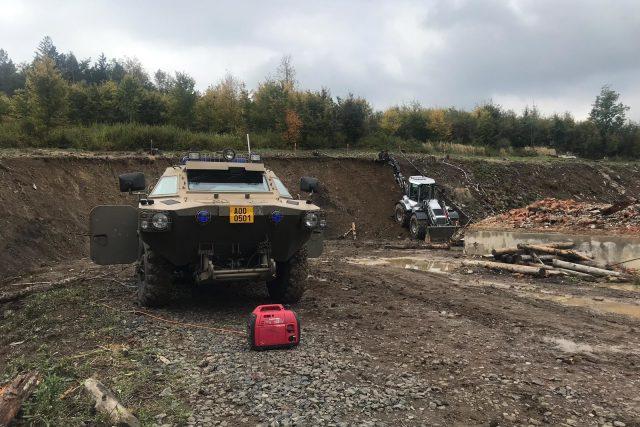 Záběr z areálu muničního skaldu Vrbětice