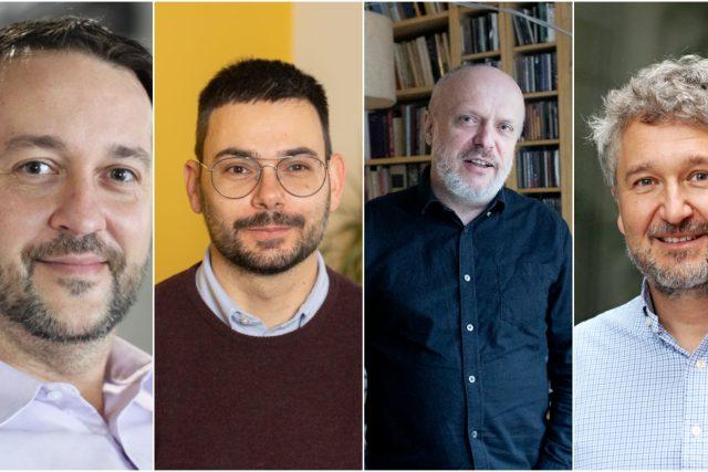 Mezi členy skupiny také patří  (zleva) epidemiolog Rastislav Maďar,  výzkumník Jan Kulveit,  matematik René Levínský a epidemilog Petr Smejkal | foto: Koláž iROZHLAS