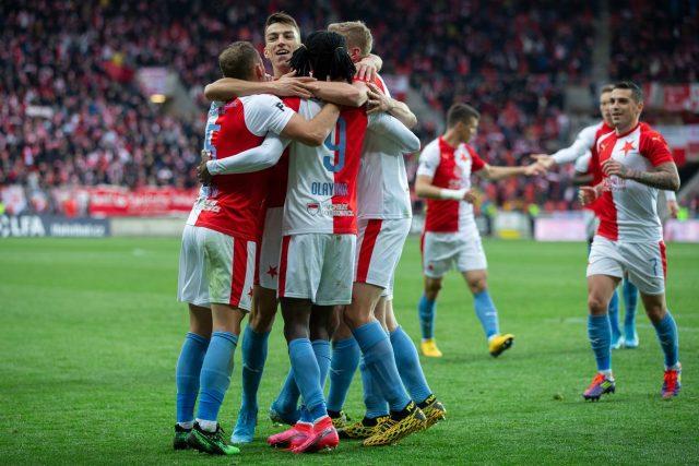 Fotbalisté Slavie se radují